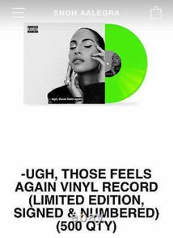 Snoh Aalegra SIGNED Ugh, Those Feels Again Green Vinyl Record Sealed /500 #161