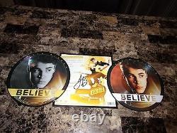 Justin Bieber Signé À La Main Believe Limited Edition Tour Double Vinyle Record 1000