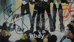 Kiss Jsa Signé Autograph Love Gun Album Vinyle Paul Stanley Gene Simmons +