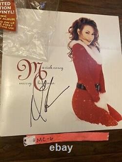 Mariah Carey Signé Autographed Merry Christmas Vinyl Lp Record Proof