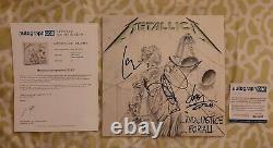 Metallica A Dédicacé Justice Pour Tous Disque Vinyle Apeca Coa #sa13067 Signé Par 3