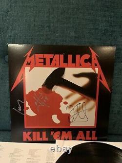Metallica Kill Em All Autographié Par 3 Album Lp Couverture Vinyle Garantie 100%