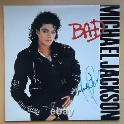 Michael Jackson Bad Vinyl Sleeve Album Autographié Signé Avec Coa