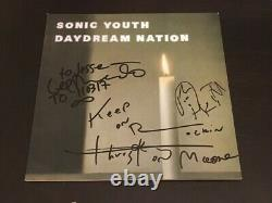 Sonic Youth (3/4) Signé À La Main+inscription De Daydream Nation Vinyl Cover+lp+proof 1